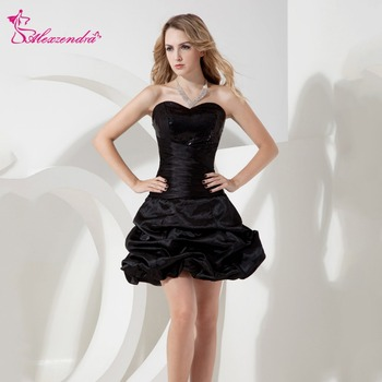 Alexzendra Sweetheart Black Mini Puffy A Line Prom Dresses Customize Special Party Gowns