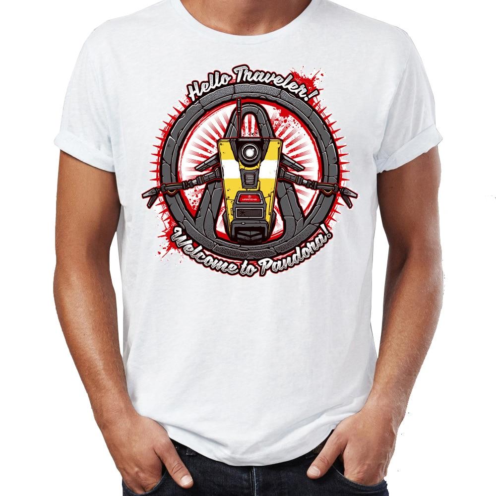 Men's T Shirt Hello Traveler Welcome To Pandora Borderlands Awesome Artwork Drawing Printed Tee