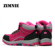 Real Leather Outdoor Hiking Shoes Plus Velvet Men Warm Snow Boots Walking Climbing Non-slip Women Hiking Shoes Trekking Shoes