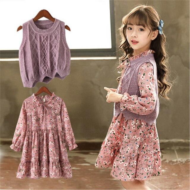 Girls Suit 2018 Baby Sweater Set Children Autumn Dress Set Kids Floral Dress Girl Suit Cotton Sweaters and Chiffon Dress 3-8Y