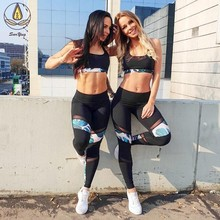 Patchwork Mesh Sport Suit Breathable Sexy Sports Bra Seamless Yoga Pants EU Fashion Women Fitness Clothing Quick Dry Active Wear