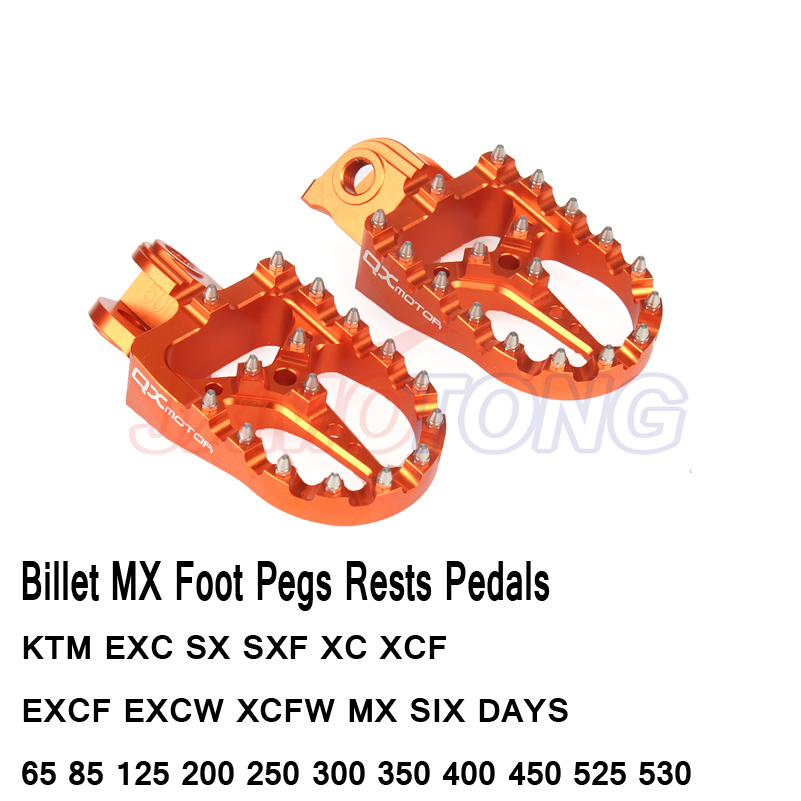Billet MX Foot Pegs Rests Pedals For KTM EXC SX SXF XC XCF EXCF EXCW XCFW MX SIX DAYS 65 85 125 200 250 300 350 400 450 525 530 цена