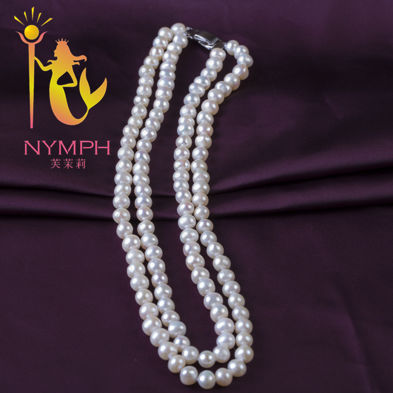 NYMPH Pearl Necklace Pearl Jewelry natural Freshwater 6-7MM Near Round white 2 rows gift for wedding Gril XL1008