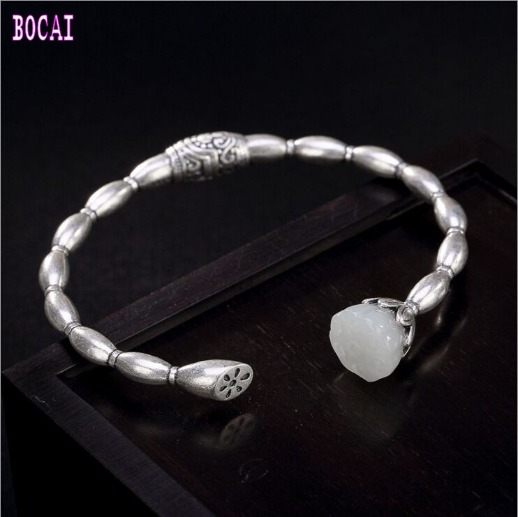 S925 solid sterling silver natural stone lotus bracelet retro personality Chinese style wild woman's bracelet