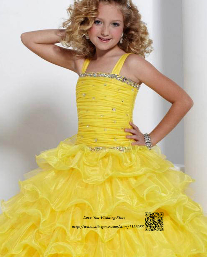 Child Fanny Yellow Flower Girl Dresses For Weddings Ball Gown 2015