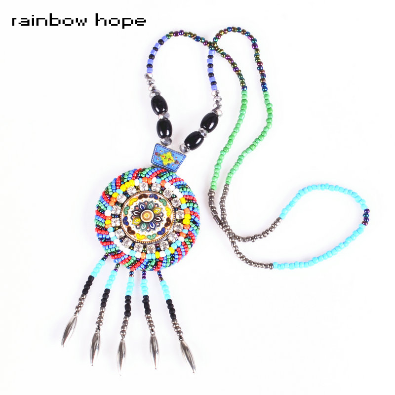 Bohemia round ethnic Ceramic pendant statement necklaces rainbow color resin beads strand Long necklace for fashion jewelry
