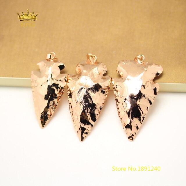 5pcs Rose Gold Copper Electroplated Stones Black Tourmaline Pendants Arrow Shape Beads Crafts Necklace