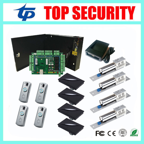 TCP/IP 4 Doors Access Control System Access Control Panel With RFID Card Reader Electric Bolt Lock And Zinc Alloy Exit Button rfid card access control system tcp ip card time attendance and access control weigand card reader 4 doors access controller