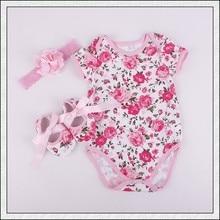 2016 New Spring Rosette Baby Girl Clothes Newborn Cotton jumper Flower shoes headband set Cute Kids