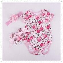2016 New Spring Rosette Baby Girl Clothes,Newborn Cotton jumper Flower shoes headband set Cute Kids short sleeve Romper