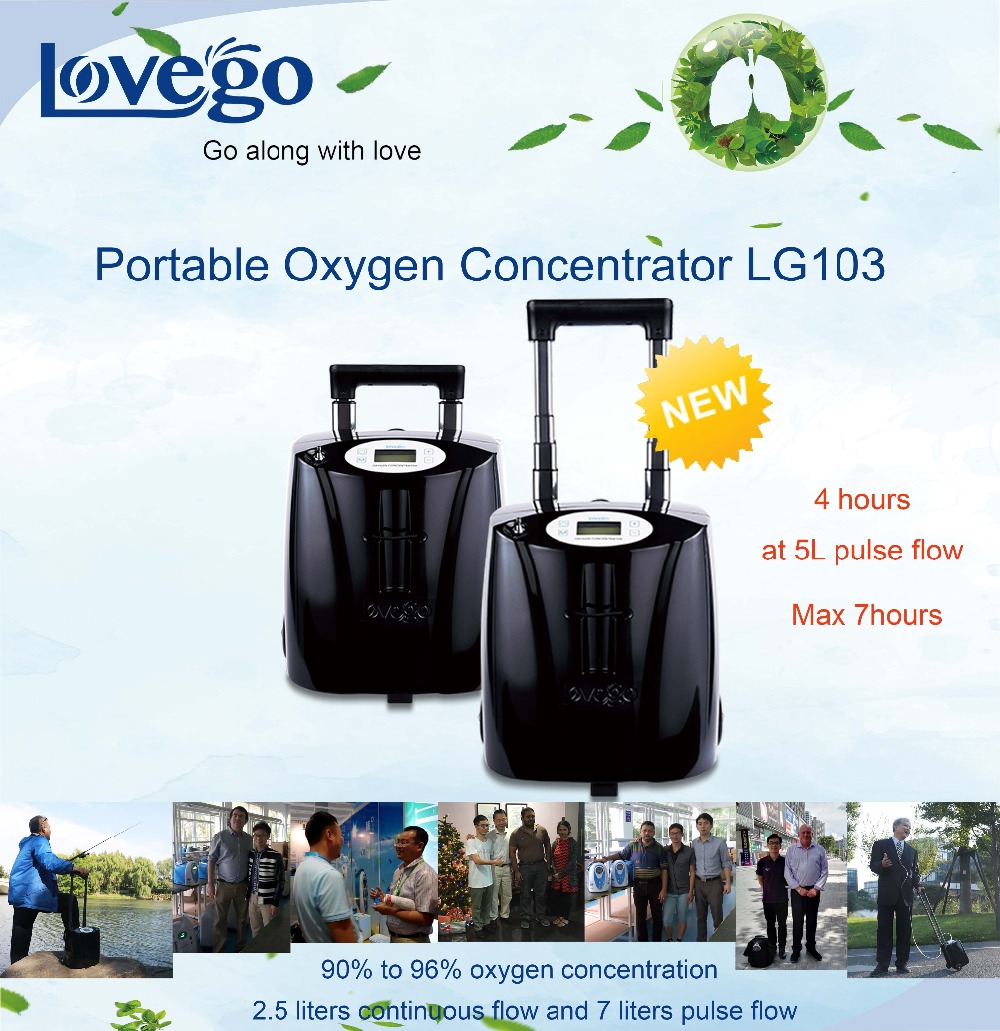 Zdjęcie do wysyłki przez DHL/14 godzin baterii Lovego Medica klasy przenośny koncentrator tlenu G3 dla 7LPM terapii tlenowej/90-96%