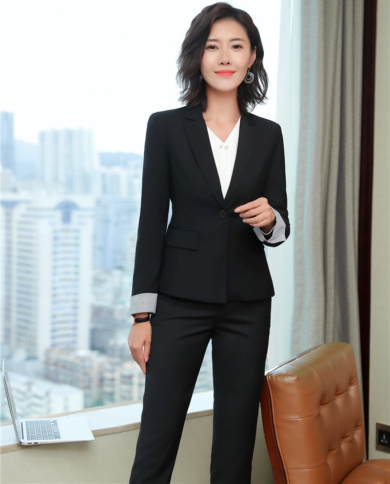 Fashion Women Business Work Wear Formal Uniforms Designs Pantsuits With Blazers And Jackets Sets Female Pants Suits OL Styles