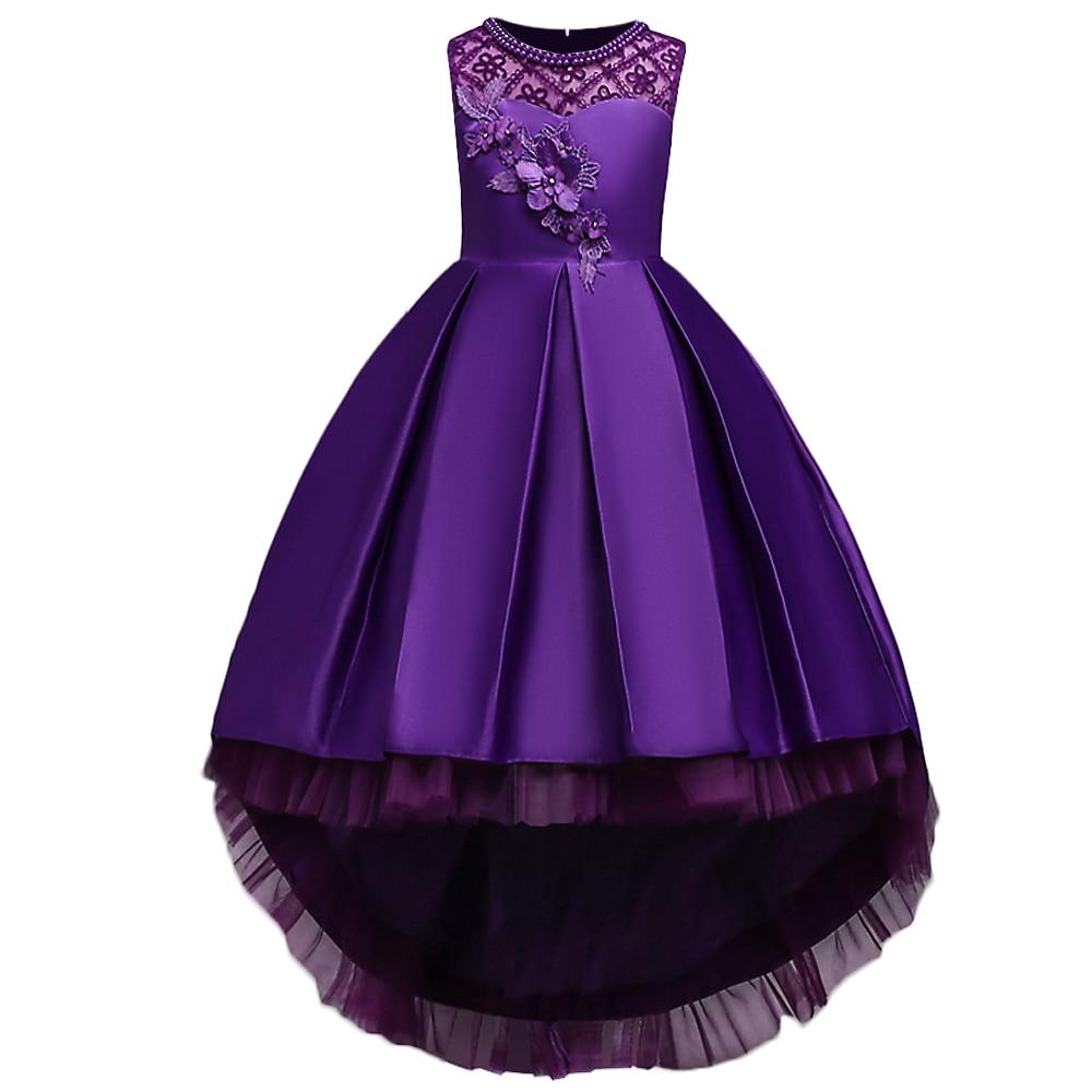 BAOHULU Print Princess Girls Dress Beading Little&Big Girl Holiday Party Birthday Vestidos Baptism Weeding Dresses Purple Blue marfoli purple girl party dress holiday