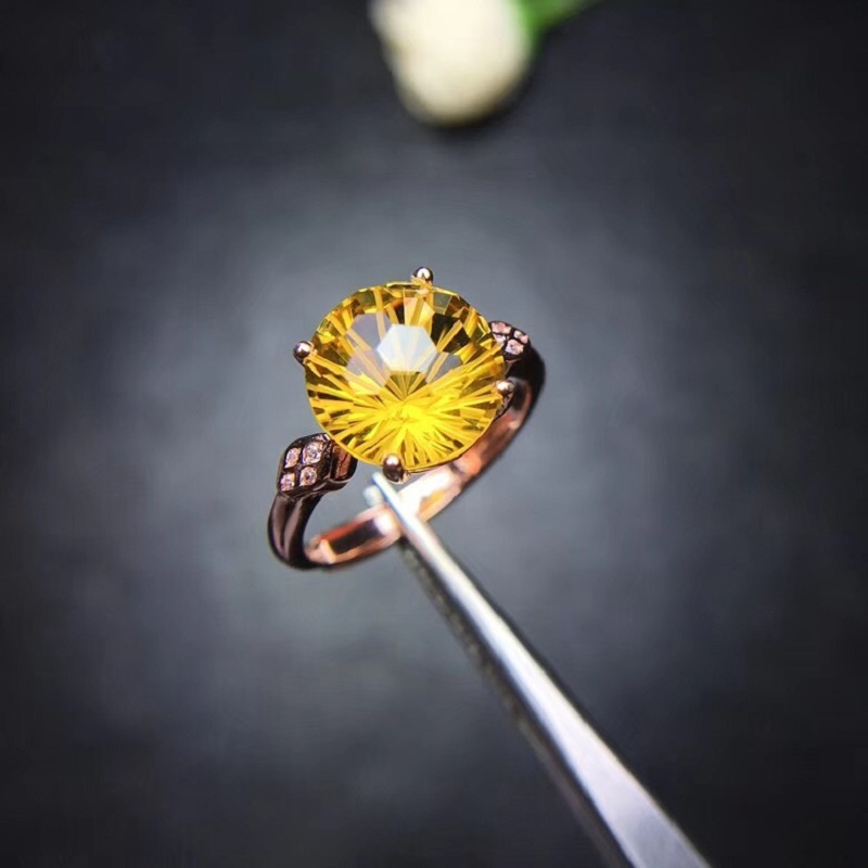 Almei Natural Citrine Ring for Women, 925 Sterling Silver Wedding Jewelry, 10*10mm Gemstone with Velvet Box Certificate FJ241