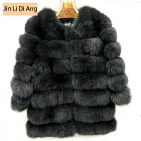 Natural Fox Fur Women Coats 2016 Winter Fashion Casual Genuine Female Fur Coat Three Quarter Sleeve