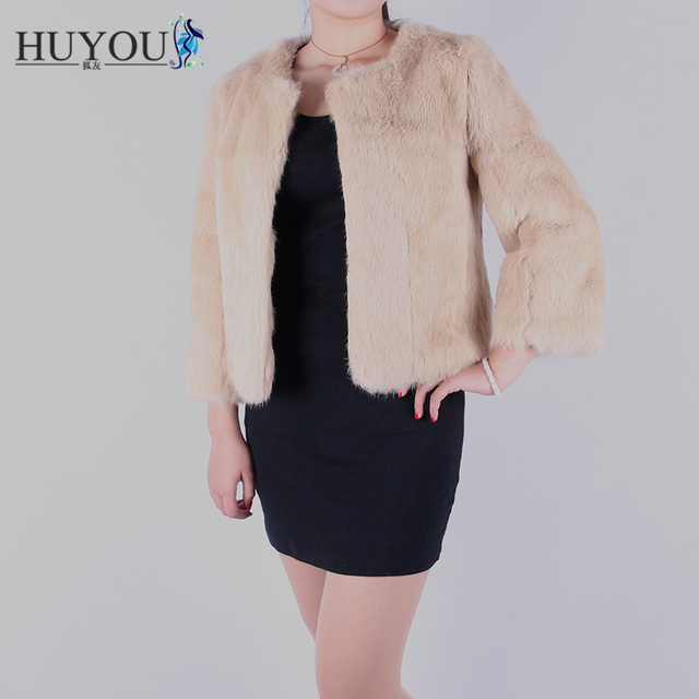 HUYOU Free Shipping 2018 Hot New Women's Real Fur Coat From High-Quality Natural Rabbit Fur Full Pelt Casual Jacket For Women