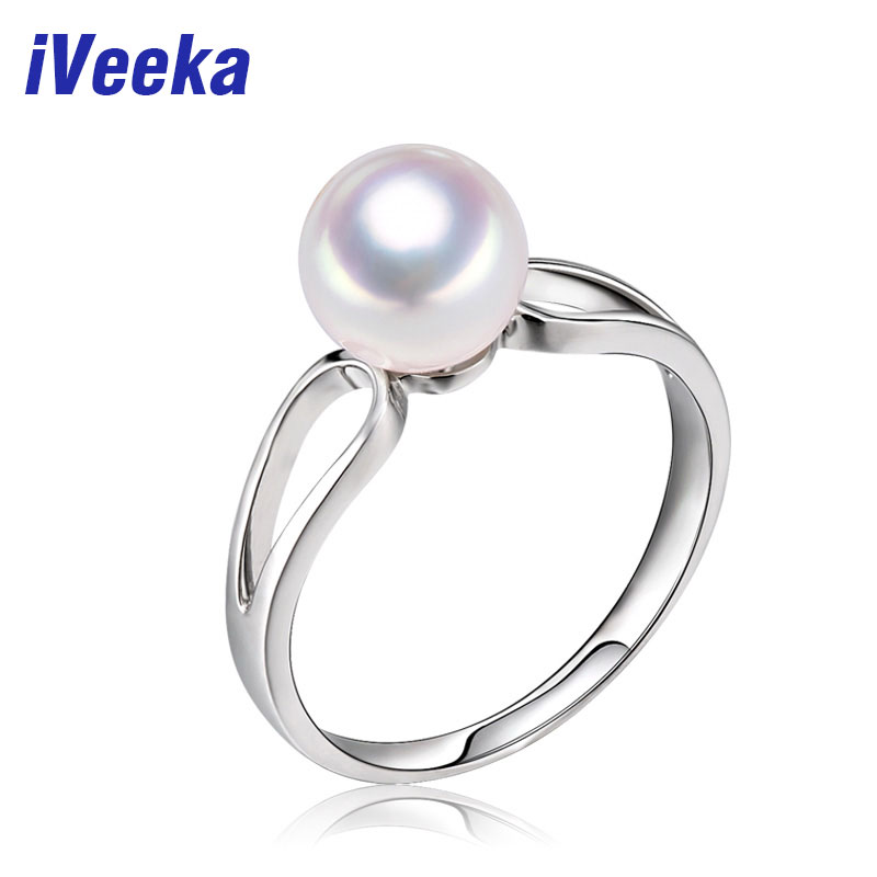 iVeeka jewelry 925 sterling silver ring natural freshwater pearl ring for women gift engagement wedding rings