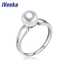 IVeeka joyería 925 anillo de plata anillo de perla natural de agua dulce para las mujeres de compromiso anillos de bodas de regalo