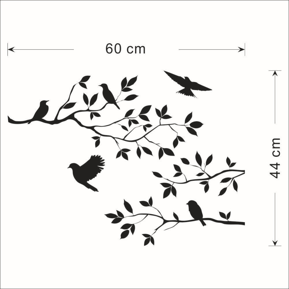 Black tree branch birds wall sticker tree vinyl wall decal mural glass film window stickers home decoration wall art wallpaper in wall stickers from home