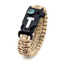 Kültéri karkötő túlélési eszköz férfiakhoz Női fonott Paracord Multi Camping Rescue Sürgősségi RopeBangles Compass Whistle Knife