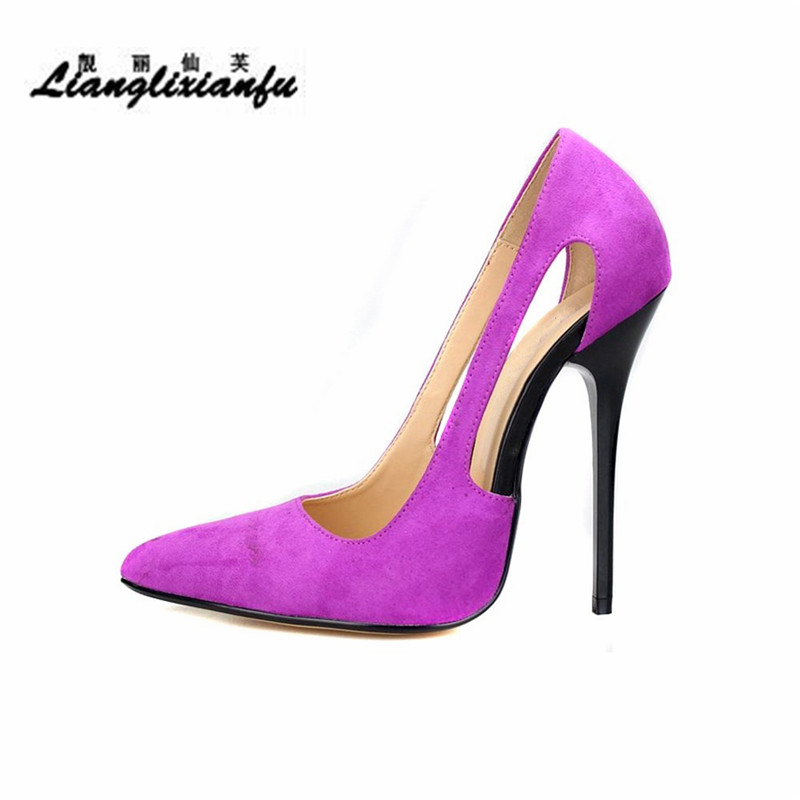 LLXF NEW style 14cm thin heels Hollow out shoes woman dress shoes Pointed Toe Cosplay Flock Leopard Print pumps Plus:40-47 48 49 women s trendy beauty print tank top hollow out dress twinset