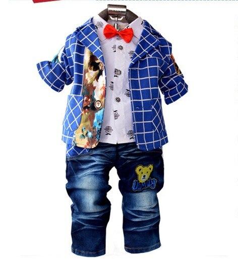 0-3.5Y new 2015 autumn boys plaid patchwork clothing set 3pcs with tie kids clothes sets children plaid suit boy garment