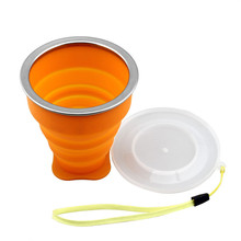 Hot New Folding Silicone Portable Telescopic Drinking Collapsible coffee cup multi-function folding silica Travel