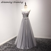 Gray A Line Tulle Prom Dresses 2018 Beads Sequined Appliques Floor Length Long Sliver Cheap Evening