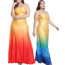 2019 Summer Explosion Models New Fashion Gradient Color Sling Long Dress womens Clothing Spot Big Code