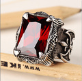 Brand New Hot Fashion Titanium Steel Ring Punk Gothic Red Stone Men Ring Personality Domineering Jewelry