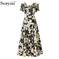 Svoryxiu 100% Cotton lily Flower Print Runway Long Dress Women's Sexy Off Shoulder Beach Holiday High Quality Dress Vestdios