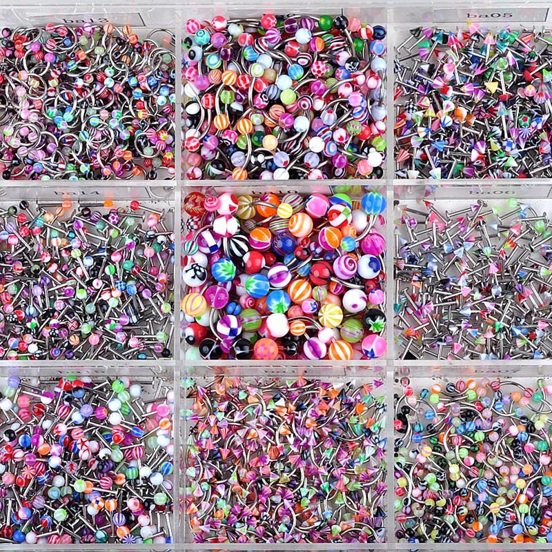 90pcs/Lots Mixed Acrylic Assorted Ball Tongue Nipple Bar Ring Barbell Piercing Tongue Stainless Steel Body Jewelry Wholesale