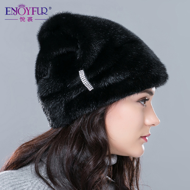 Cheap Russian winter fur hat for women real mink fur hat with diamond 2015 top selling women fur cap fashion high-end  ear protector