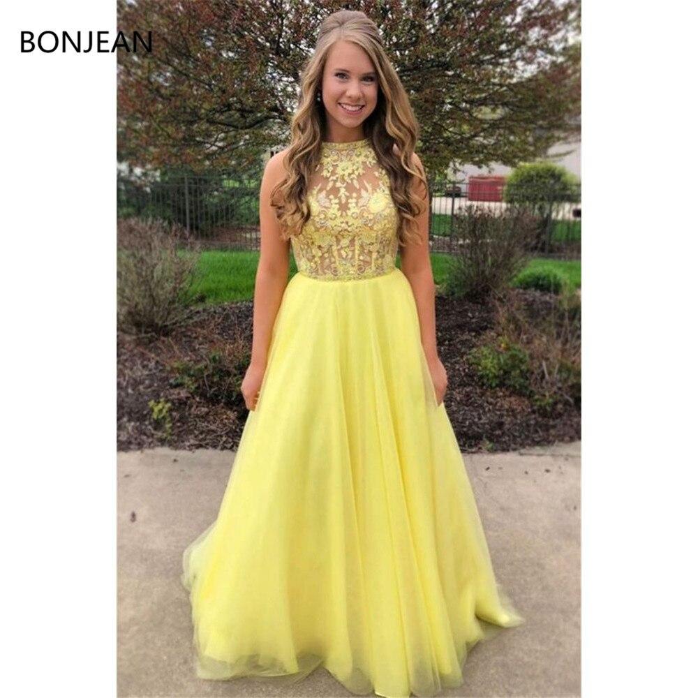 Superbe robe de bal jaune longue robe de bal balayage brosse Train paillettes robes longue formelle robe de soirée fantaisie robes 2019
