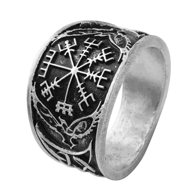Viking Bands: 1pc Vegvizir Compass Ring Signet Norse Viking Rings Nordic