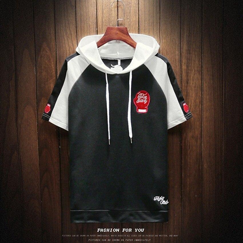 2018 Spring New Casual Embroidery Stitching Short Sleeved Men Hoodies Sweatshirts Fashion Street Joggers Sportswear Mens Hoodie