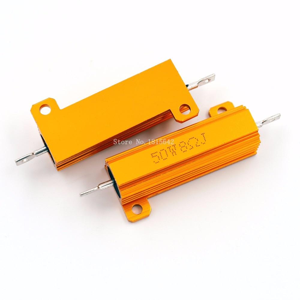 RX24 50W 8R 8RJ Metal Aluminum Case High Power Resistor Golden Metal Shell Case Heatsink Resistance