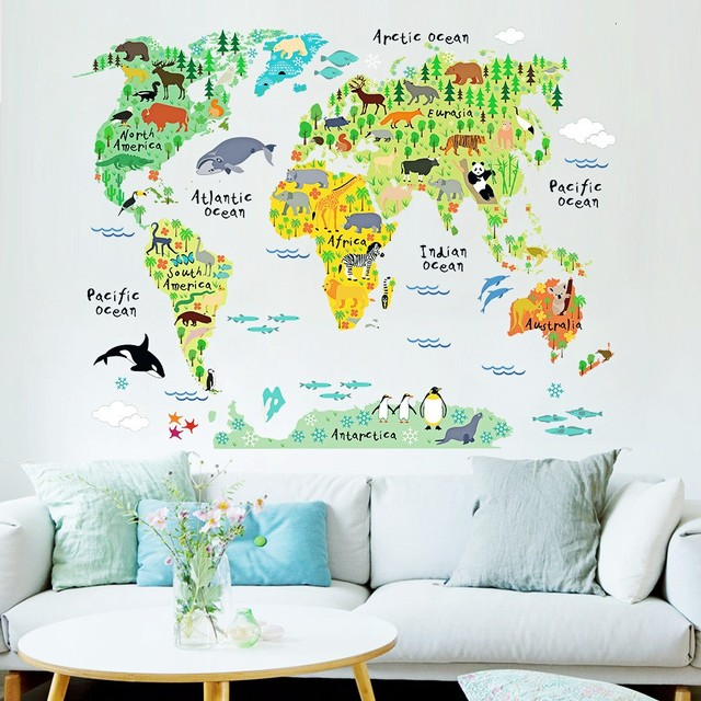 2016 hot sale 7395cm art design animals world map diy wall sticker 2016 hot sale 7395cm art design animals world map diy wall sticker high quality gumiabroncs Image collections