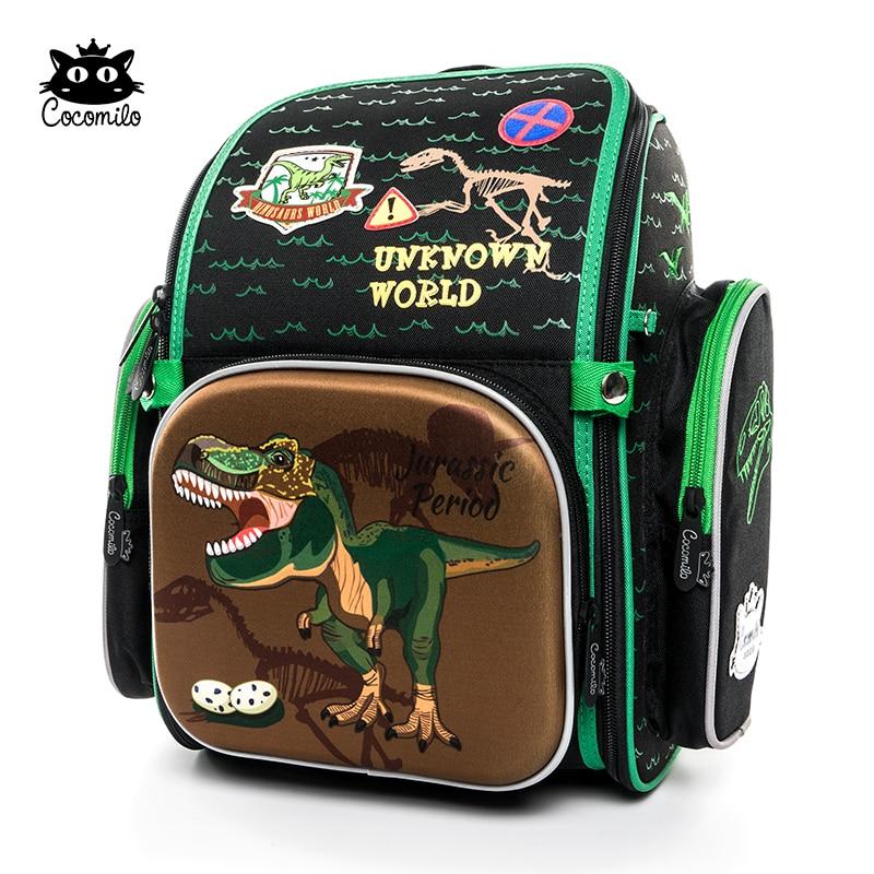 Cocolimo Dinosaur Design Primary School Bag for Boys Children Orthopedic school bag Backpack girls Fairy Mochila Escolar Green|School Bags| |  - title=