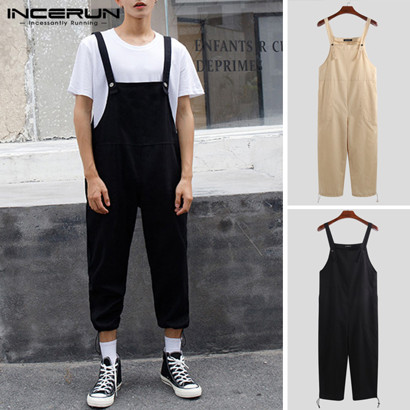 INCERUN Mens Jumpsuit Loose Pants Solid Rompers Streetwear Pockets Suspenders Trousers Men Couple Cargo Overalls Harajuku 2020