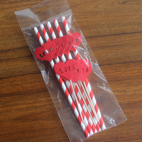 High Quality Disposable Striped Paper Straw And Red Love Insert Cards Cake For Home Garden Wedding