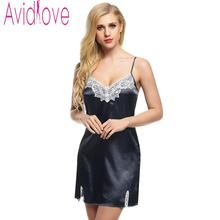 Avidlove Night Dress Women Sleepwear Nighty Satin Dress Nightgown Lace Splicing Nightwear Spaghetti Mini Robes vestidos
