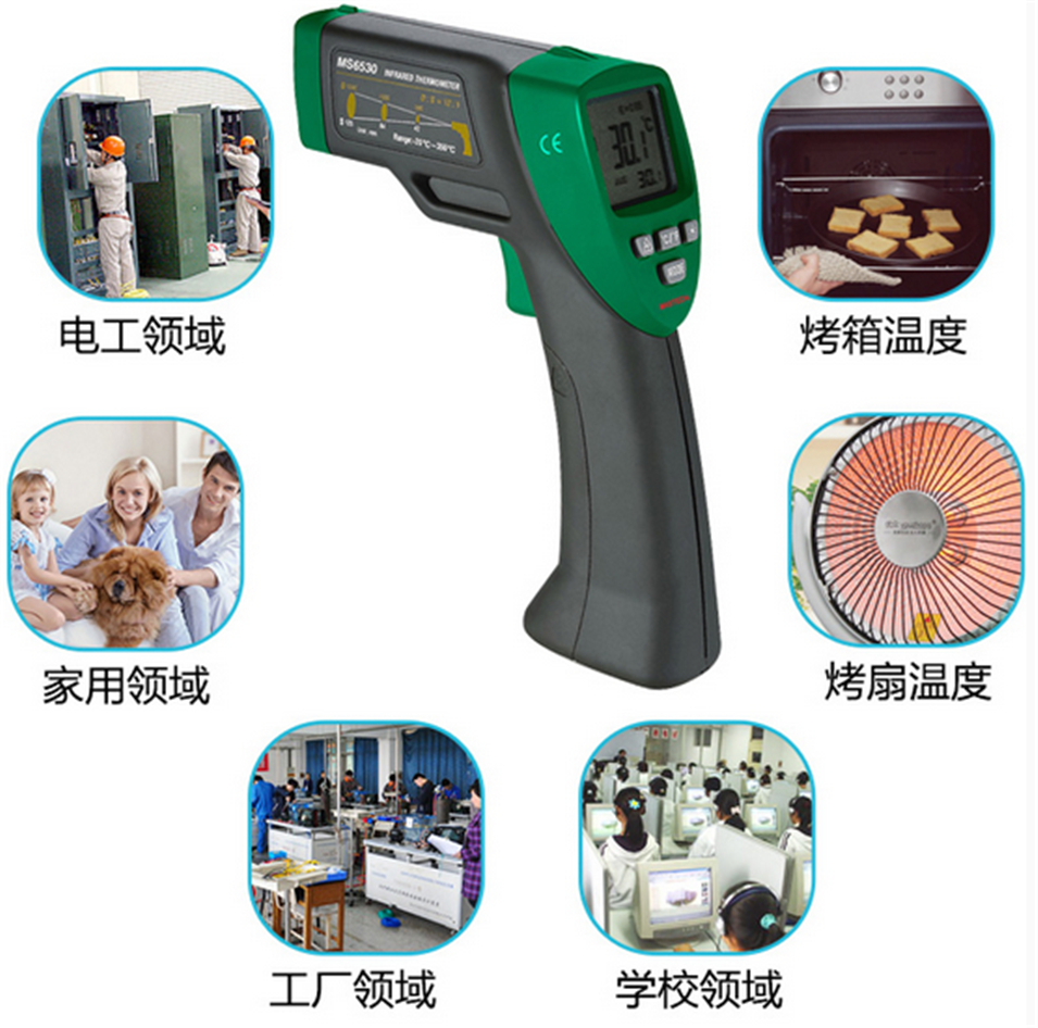 2017 New MASTECH MS6530 12:1 Digital Non-contact Infrared Thermometer Tester IR Temperature Meter t010 new digital temperature meter tester mastech ms6520a laser pointer non contact infrared ir thermometer free shipping