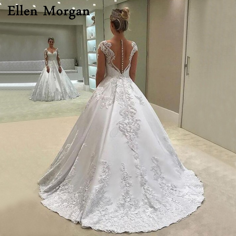 Long Sleeves Lace Ball Gowns Wedding Dresses For Women Sexy Deep V Neck Embroidery Lace Appliques Illusion Bridal Gowns 2019