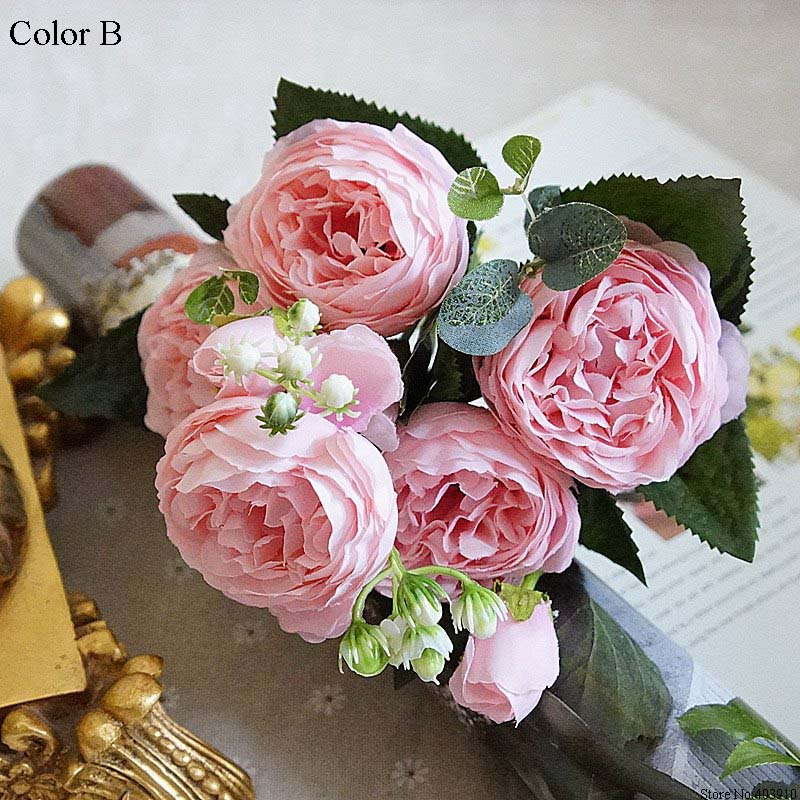 Silk Rose Peony Artificial Flowers Small Bouquet For Wedding Decoration 14