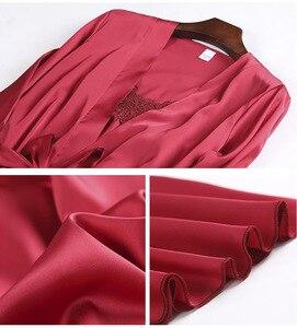 Image 5 - מותג 1 5pcs חליפת גבירותיי סקסי משי סאטן פיג מה סט נשי תחרה Pyjama סט הלבשת סתיו חורף בית ללבוש nightwear לנשים
