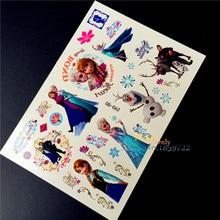 Snow Queen Princess Elsa Anna Children Temporary Tattoo Sticker BOdy Arm Tatoo, Fake Flash Tattoo Snowman Prince Cartoon