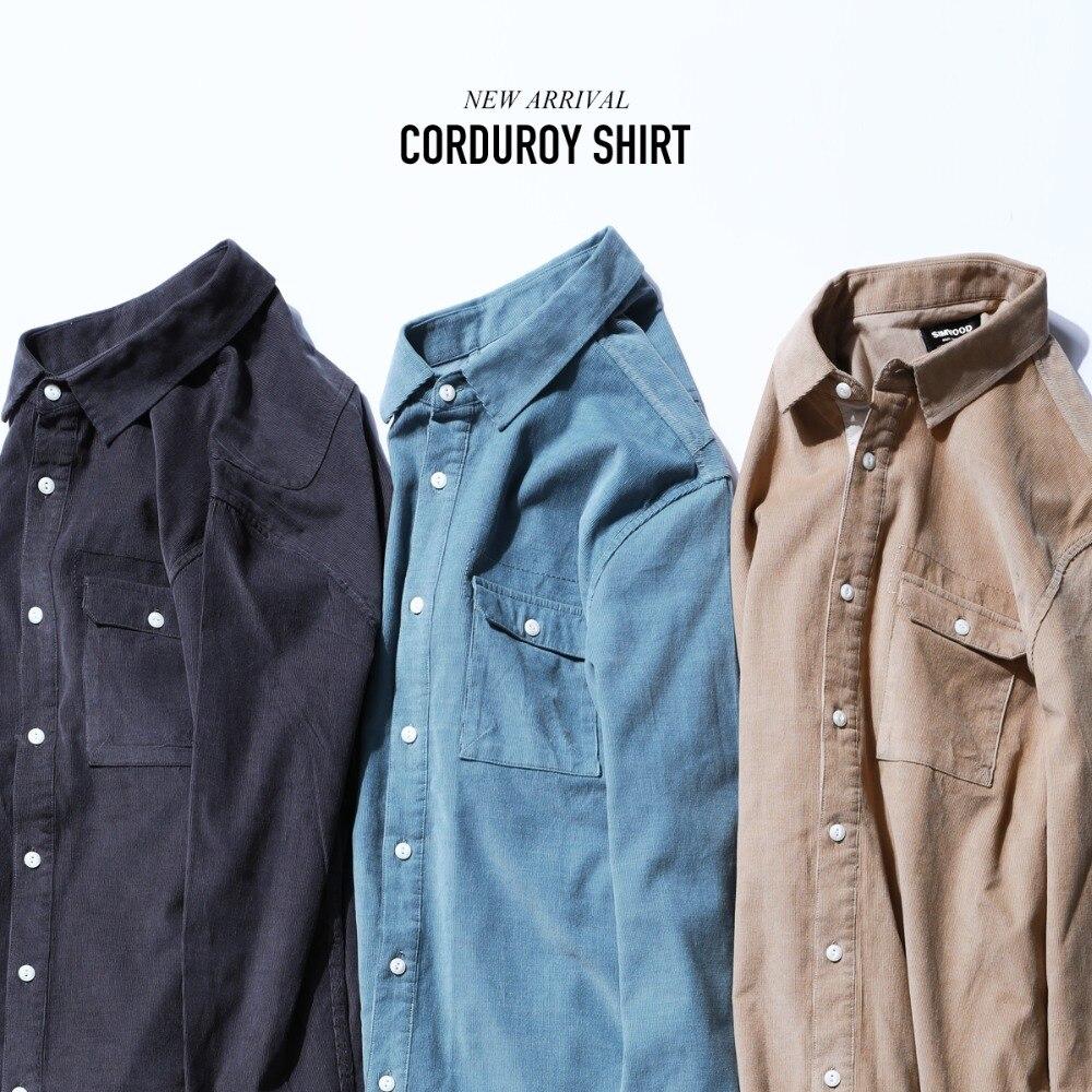 SIMWOOD chemises décontractées Hommes 2019 De Mode En Velours Côtelé à manches longues Chemise Masculine 100% couverture en coton chemises minces chemise pour homme 180579