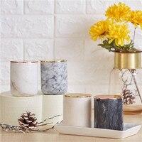 Marmor Kerze Glas mit gold deckel wohnkultur kerzenhalter dekorative kerzenständer hochzeit decor luxury kerzenständer