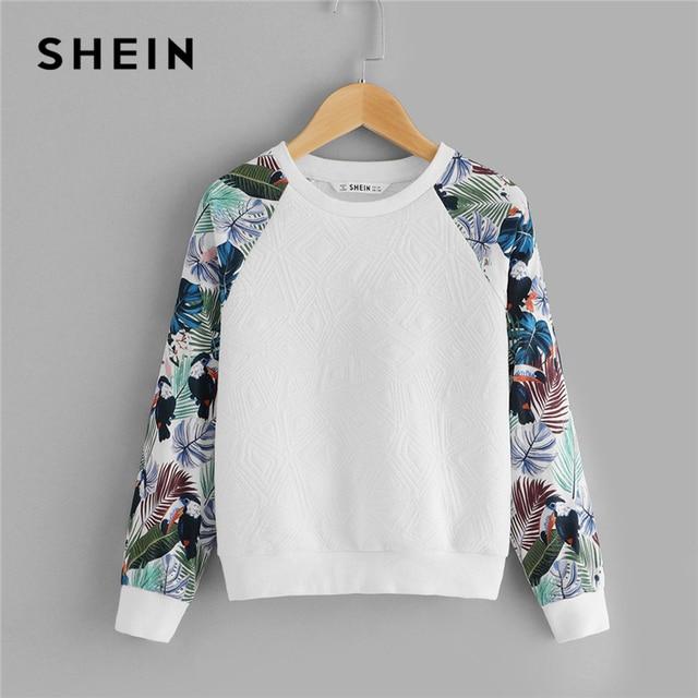 SHEIN Kiddie Weiß Floral Print Nette Sweatshirt Für Kleinkind Mädchen Tops 2019 Frühling Casual Langarm Pullover Kinder Kleidung